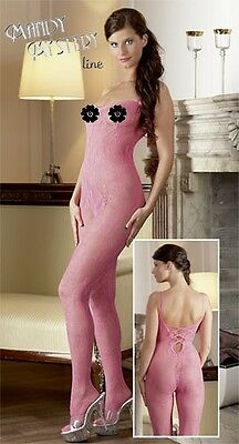 Bodystocking in pizzo rosa Mandy Mystery Sexy shop Intimo Erotic Lingerie Donna