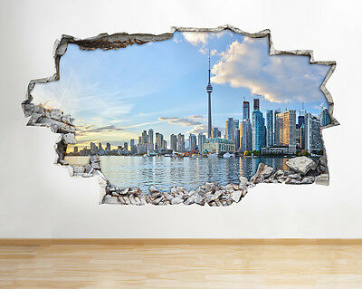 Wall Stickers Toronto City Skyline Sunset Smashed Decal 3D Art Vinyl Room H462