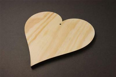 10X WOODEN LARGE HEART Shapes Gift Tags Blank Hearts Craft 15cm Plywood