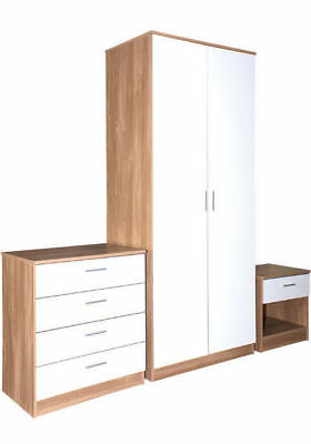 Caspian Gloss Shiny Bedroom Furniture 2 Door Wardrobe, Drawers, Bedside Cabinet