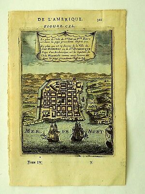 1683 Mallet Puerto Rico San Domingo Old Antique Map Town Plan Santo St Dominique