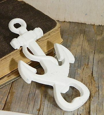Cast Metal/Bottle Opener/Wall Decor/White/Anchor/Shabby Cottage/Coastal Chic