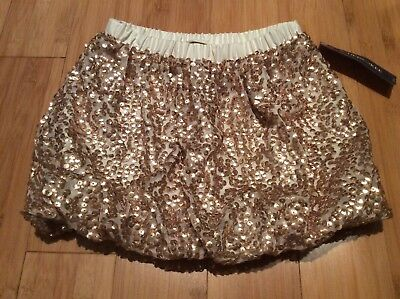 New Cherokee girls sequin ivory gold sparkle bubble skirt size 6/6x