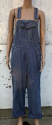 Retro Overall Pants Blue Checkered Pattern Bib Style Free Shipping