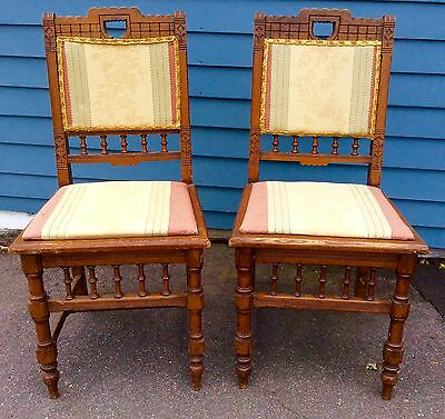 Fine Pair of Carved Walnut Eastlake Side chairs for Restoration ca 1870s-1880s