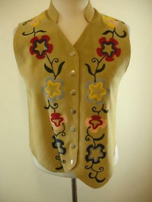 Womens S new identity vest waistcoat western embroidered snap tan suede leather