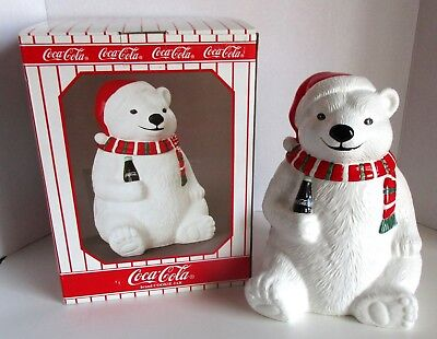 "Vintage Coca Cola Polar Bear Cookie Jar Red Green Scarf & Hat 1996 New 10"" T"
