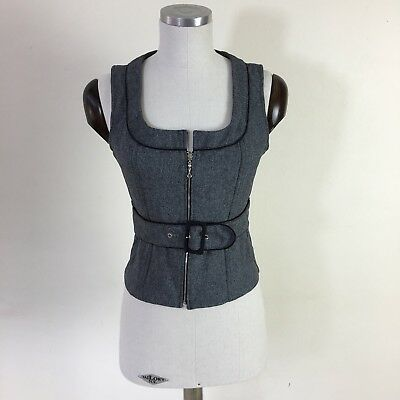 Joanna Morgan Woman's Vest, Belted With Front Zipper, Grey, Black Piping Size 8