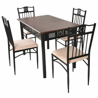 TANGKULA 5 Piece Wood Top Metal Dining Table and chairs set Kitchen Breakfast Fu