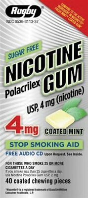 4 Packs Rugby Nicotine Polacrilex Gum USP 4mg Coated Mint Chewable 40 Count Each