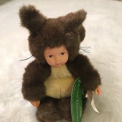 "Anne Geddes Bean Filled Collection Squirrel, 11"" Dark Brown #252971, 1999"