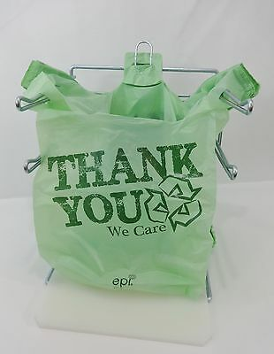 "Bio-Degradable THANK YOU T-Shirt Bags 11.5"" x 6"" x 21"" Green Plastic Bags Only"