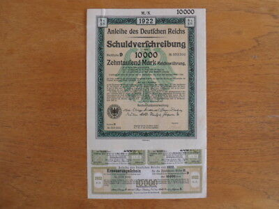 1922 Weimar German Bond-10000 Mark Bond Uncancelled with Coupons