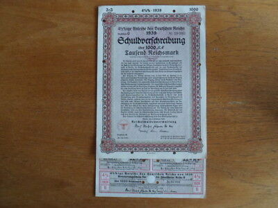1939 Nazi German Treasury Bond-1000 Reichsmark Bond-Cancelled with Coupons