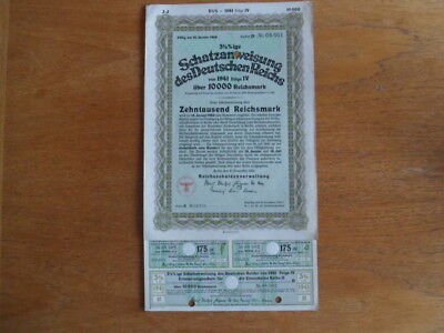 1941 Nazi German Treasury Bond-10 000 Reichsmark Bond-Uncancelled with Coupons
