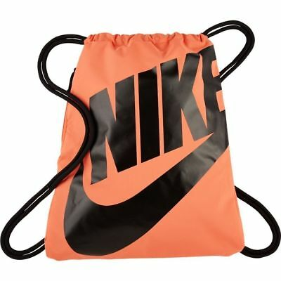 09aa74337a Nike Heritage Drawstring Gym Sack Bag Backpack Orange   Black Ba5351 680 New