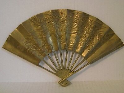 Vintage Solid Brass Fan Wall Hanging With Bird And Floral Design