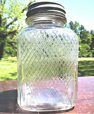 ANTIQUE WINTER'S 1920s ERA 40 OZ SQUARE DIAMOND PATTERN COFFEE JAR/BALL ZINC CAP