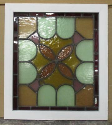 "MID SIZED OLD ENGLISH LEADED STAINED GLASS WINDOW Bordered Abst. 21.25"" x 23.75"""