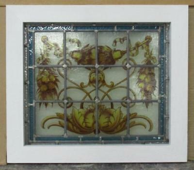"""OLD ENGLISH LEADED STAINED GLASS WINDOW Handpainted Floral Scene 18"""" x 15.75"""""""