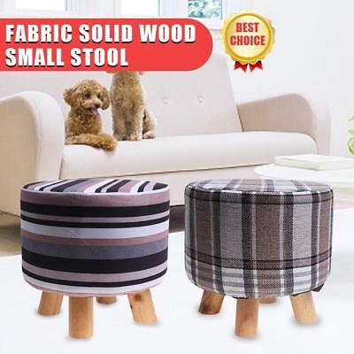 Fabric Chic Wooden Footstool Ottoman Pouffe Stool Foot Rest Padded Seat Bedroom