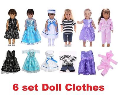 6 Sets Doll Clothes Suits Dress for 18'' American Girl Doll Princess Costumes #