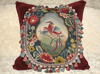 Huge Antique Needlepoint W00Lwork Tapestry Pillow Of Mythical Bird