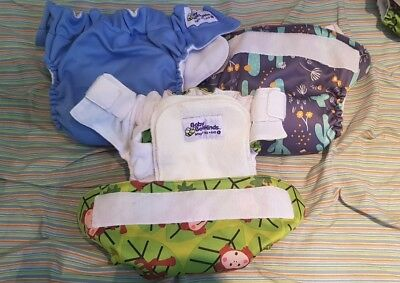 3 x Baby Beehinds Large MCN Cloth Nappy Velcro Close