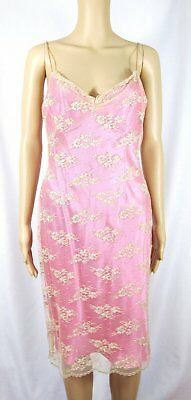 HUGO BUSCATI  Candy Pink & Beige Lace Silk Slip Dress Size 6