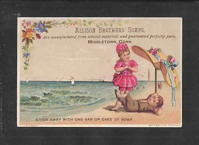 1880s ALLISON BROTHERS SOAPS MIDDLETOWN CONN VICTORIAN TRADE CARD