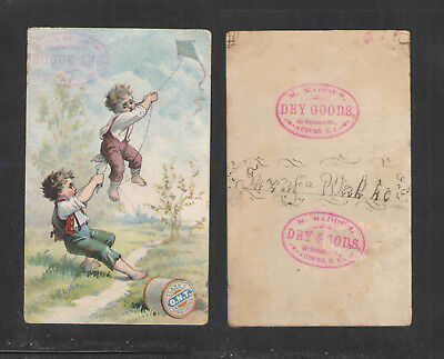1880s CLARKS ONT SPOOL COTTON THREAD M MADDEN AUBURN NY VICTORIAN TRADE CARD