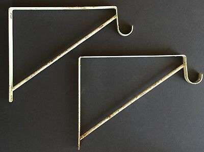 Old Vtg Metal Shelf Bracket Stanley Towel Bar Coat Hook Hanger Pair Lot Of 2