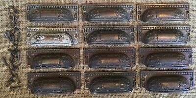 Old Vtg Antique Cast Iron Eastlake Victorian Original Drawer Pull Set Lot Of 12