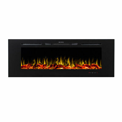 """New 1500W 60"""" Recessed Wall Mounted Electric Fireplace Flame Effect Fire Heater"""