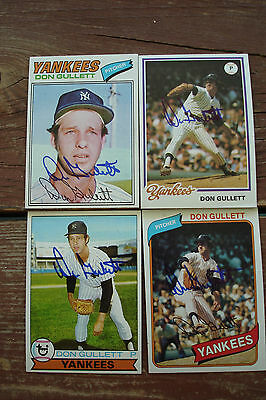 DON GULLETT 1977 1978 1979 1980 Topps Signed New York YANKEES Autograph Lot x4