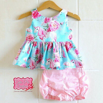 AU Canis Newborn Kid Baby Girls Unicorn Tops Dress Pants Shorts Outfits Clothes