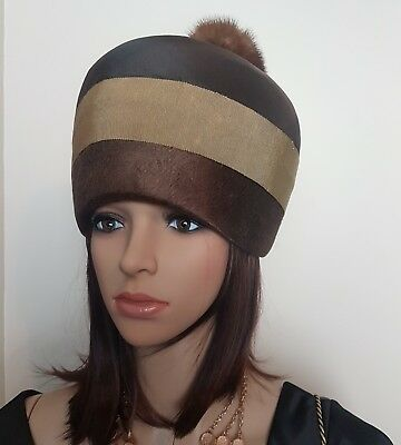 Vintage Mr Individual Melbourne Women's Hat With Pom Pom Detail Brown Rare