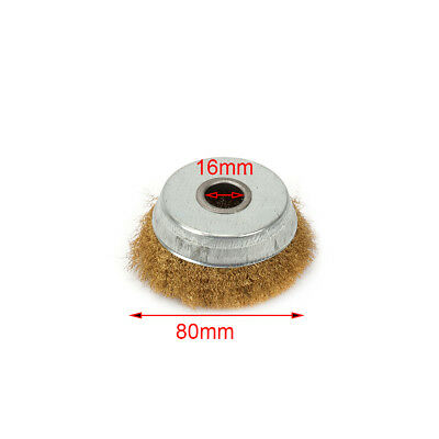 """80mm Rotary Brass Wire Brush Crimp Cup Wheel for Angle Grinder 5/8"""" Bore 2Pcs"""