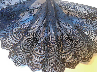 "5.5""/14 CM Beautiful Navy Blue Embroidered Tulle Flat Lace Trim.Sewing/Bridal"