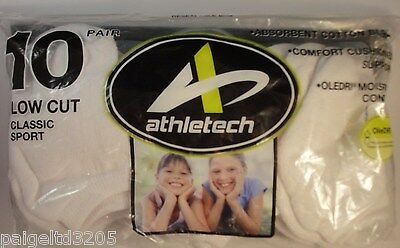 Athletech Girl's Low Cut Classic Sport Socks White  Shoe Sz 6-11 / 11 Pairs