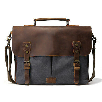 "Mens Leather Canvas 14/"" Laptop Messenger Shoulder Sling Crossbody Bag Satchel US"