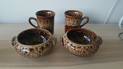 2x Vintage Fosters Brown Honeycomb Mugs & 2x Soup Bowls Fosters Cornwall studio