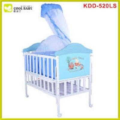 Iron Crib for Baby, In Imitation of Wooden Baby Crib with Mosquito net Baby Bed