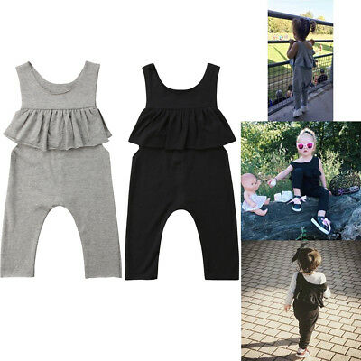 US Stock Toddler Baby Girls Ruffle Halter Romper Jumpsuit Outfits Summer Clothes