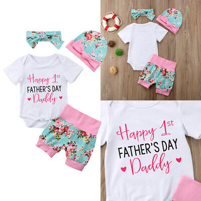 Happy 1st FATHEER'S DAY 4Pcs Floral Set Baby Girls Romper Pants Clothes AU Stock