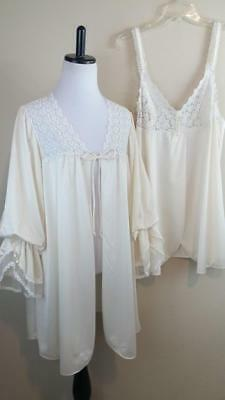 VTG SHADOWLINE Ivory 2PC Romantic Negligee Babydoll Bridal Nightie Robe Set M