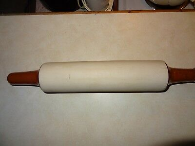 "Vintage Ceramic Rolling Pin With Cork Stopper 18"" In Lenght"