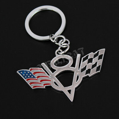 3D V8 American Flag Car Key Ring Key Chain for Chevrolet Corvette C6 C7 Z06 ZR1