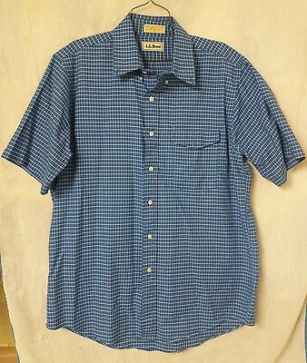 Men's vintage LL Bean blue plaid button down size 16 1/2 Made in USA