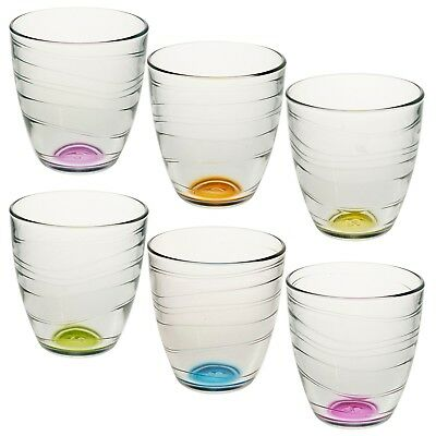 6pc Set 280ml Coloured Base Drinking Glasses Tumblers Wedding Dinner Party